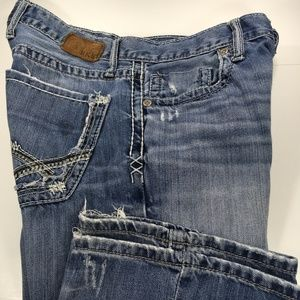 BKE Fulton Mens Distressed Bootcut Blue Jeans 31 S